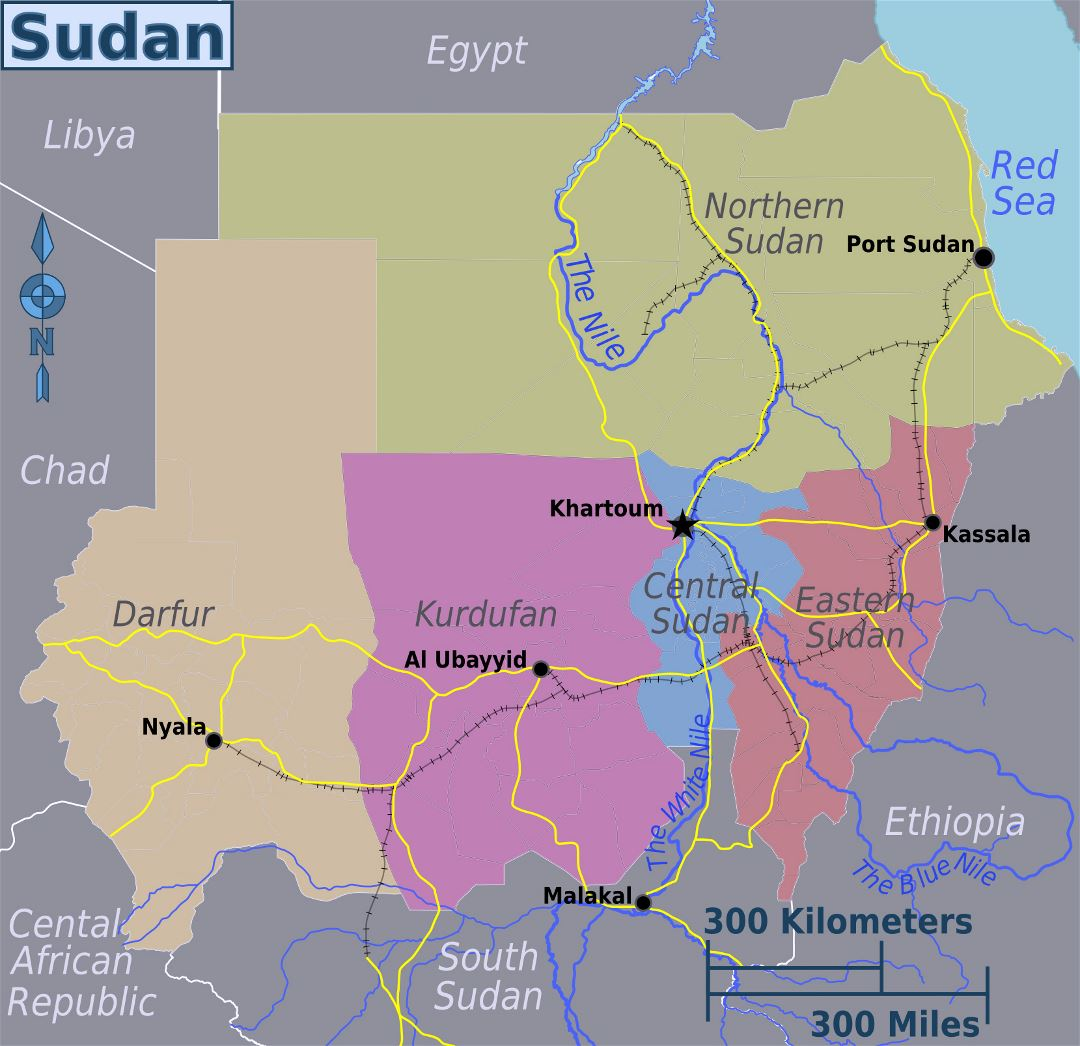 Large regions map of Sudan