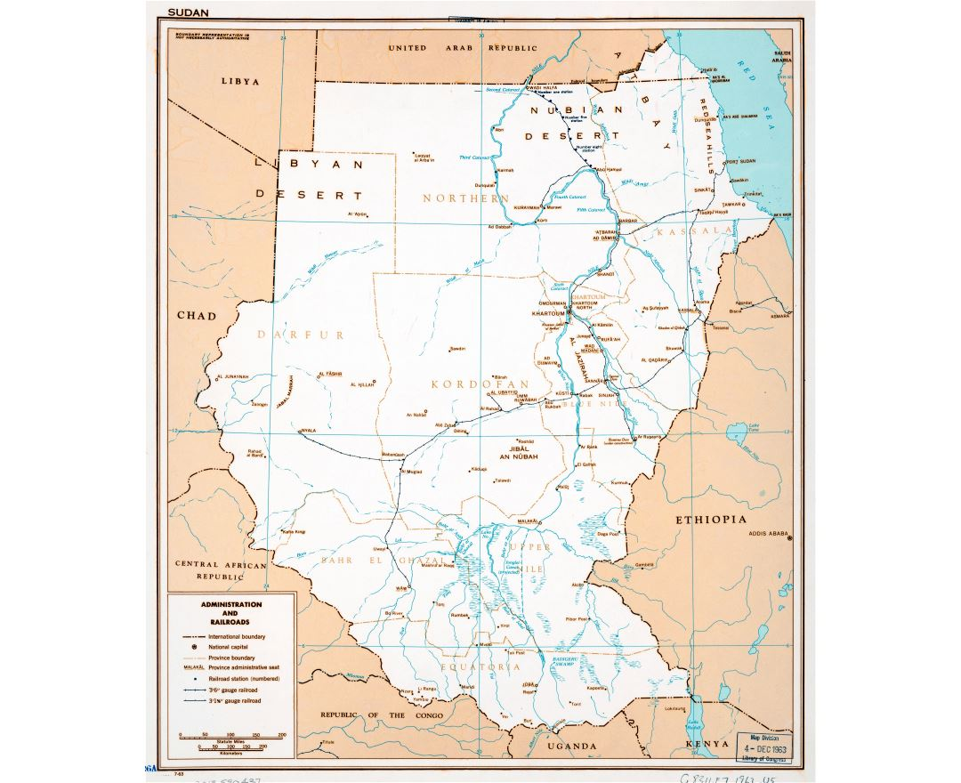 Large scale administration and railroads map of Sudan - 1963
