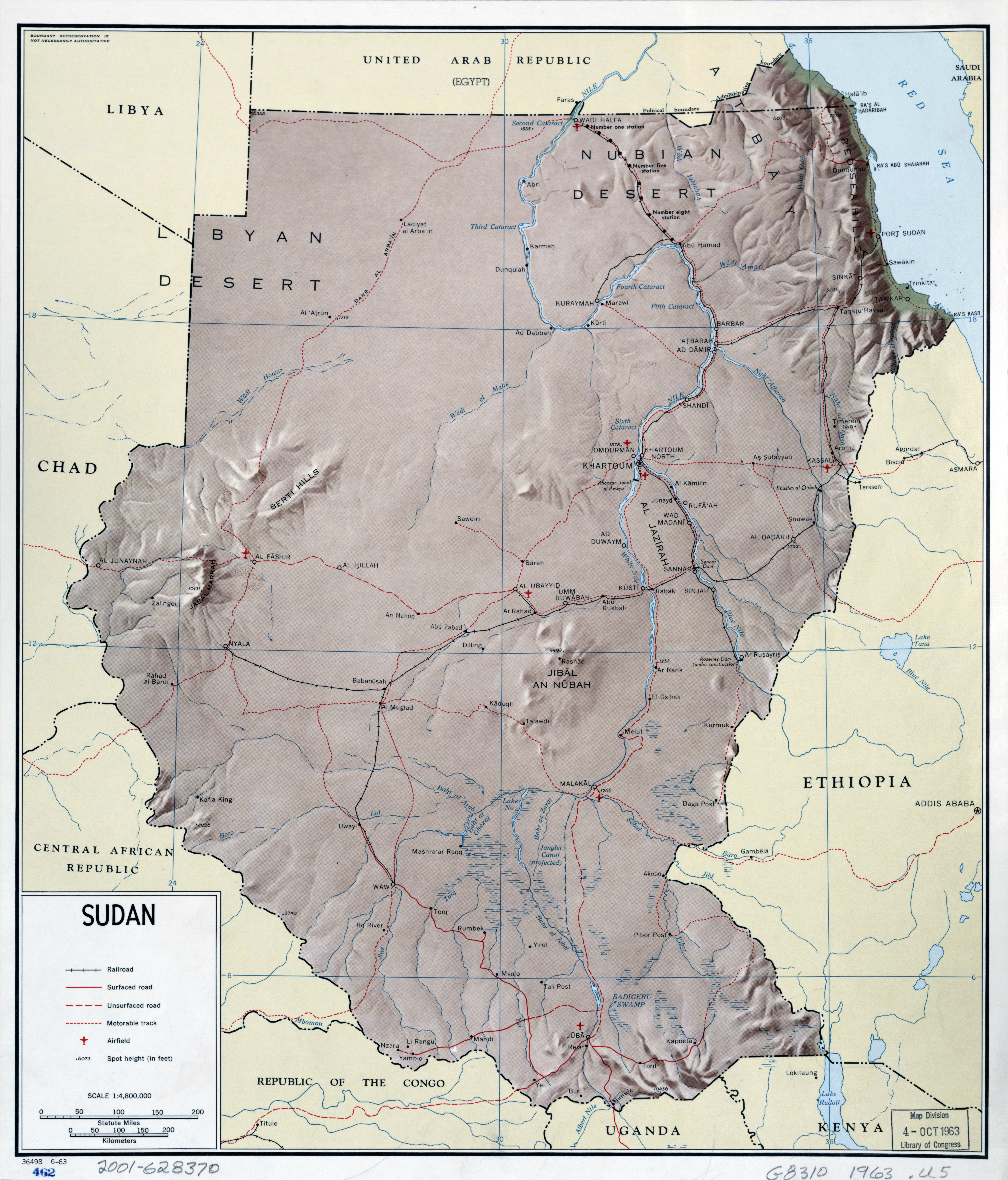 Large scale detailed political map of Sudan with relief roads