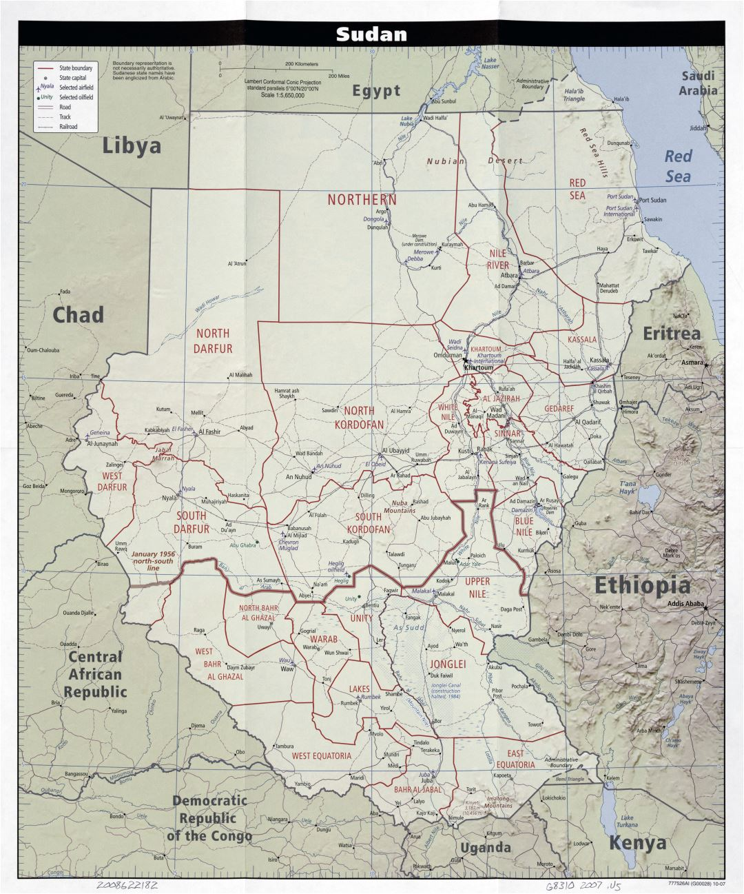 Large scale political and administrative map of Sudan with relief, roads, railroads, cities and airports - 2007