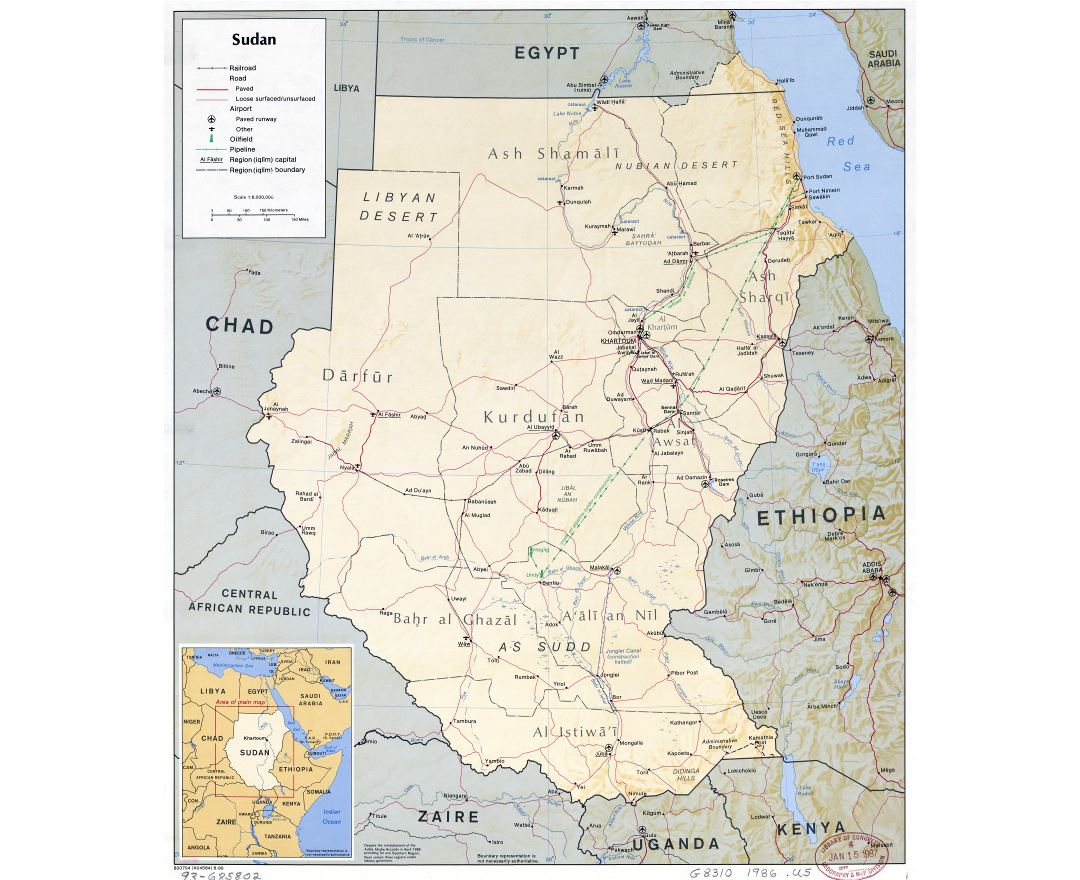 Large scale political map of Sudan with relief, roads, railroads, major cities, airports and other marks - 1986