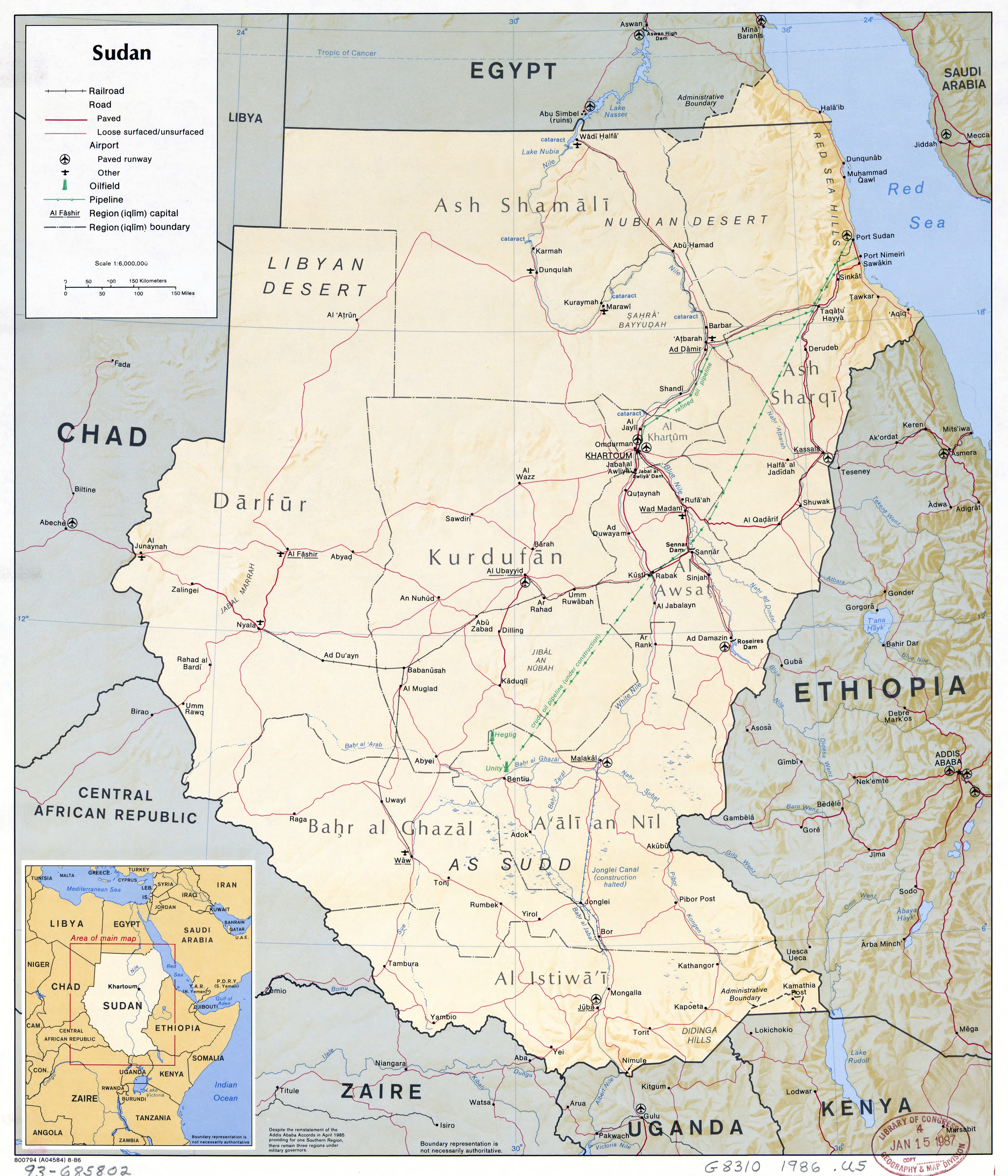 Large scale political map of Sudan with relief roads railroads