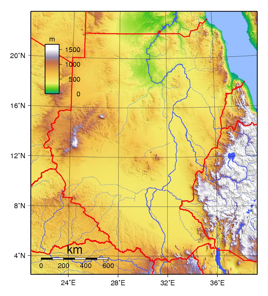 Large topographical map of Sudan