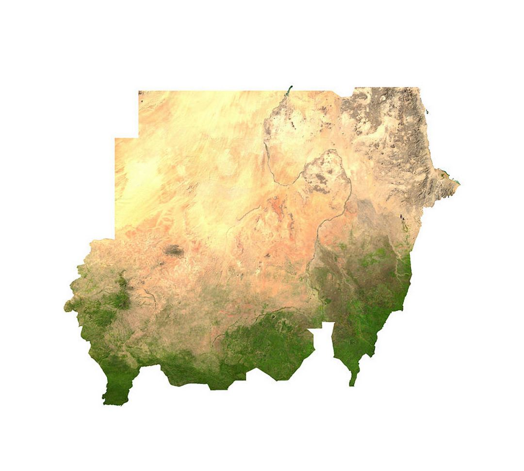 Satellite map of Sudan Sudan Africa Mapsland Maps of the World