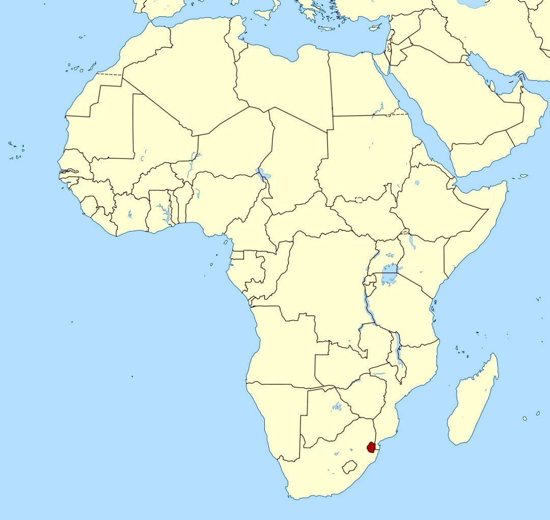 Detailed location map of Swaziland in Africa | Swaziland | Africa ...