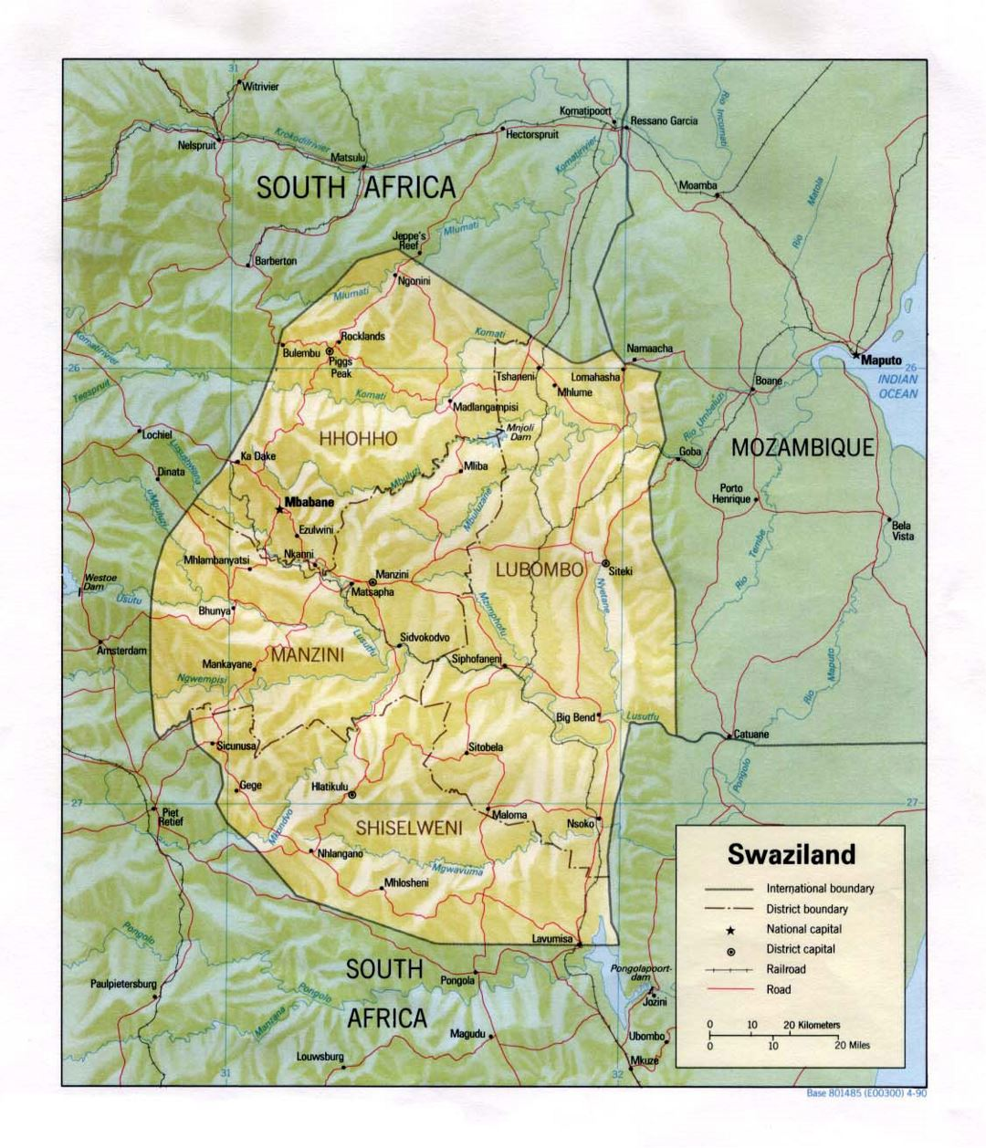 Detailed political and administrative map of Swaziland with relief, roads, railroads and major cities - 1990