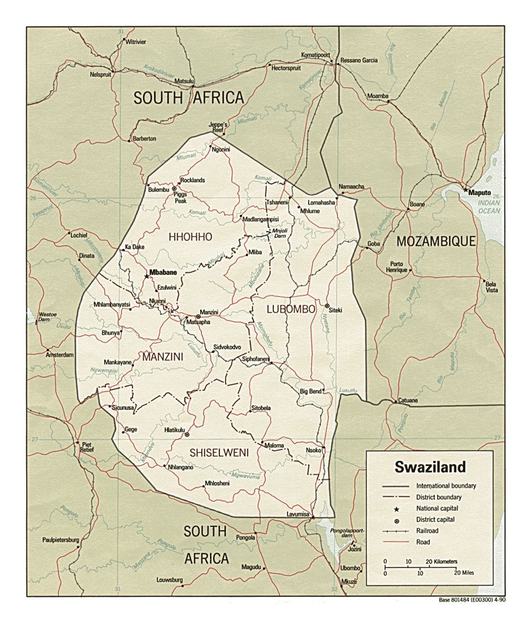 Detailed political and administrative map of Swaziland with roads, railroads and major cities - 1990
