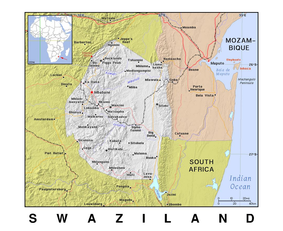 Detailed political map of Swaziland with relief