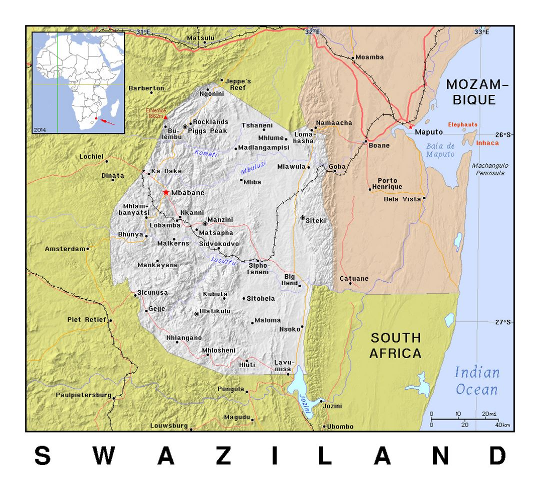 Detailed Political Map Of Swaziland With Relief Swaziland Africa Mapsland Maps Of The World