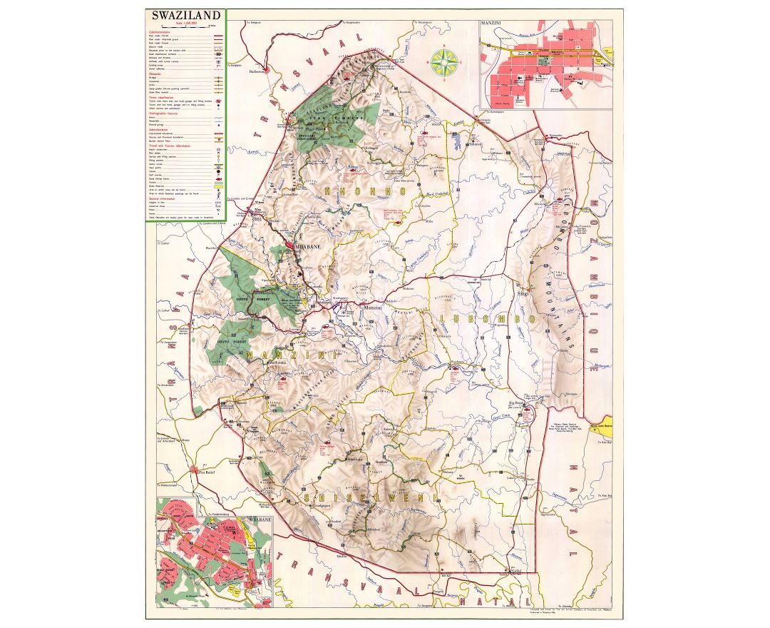 Large detailed map of Swaziland with other marks