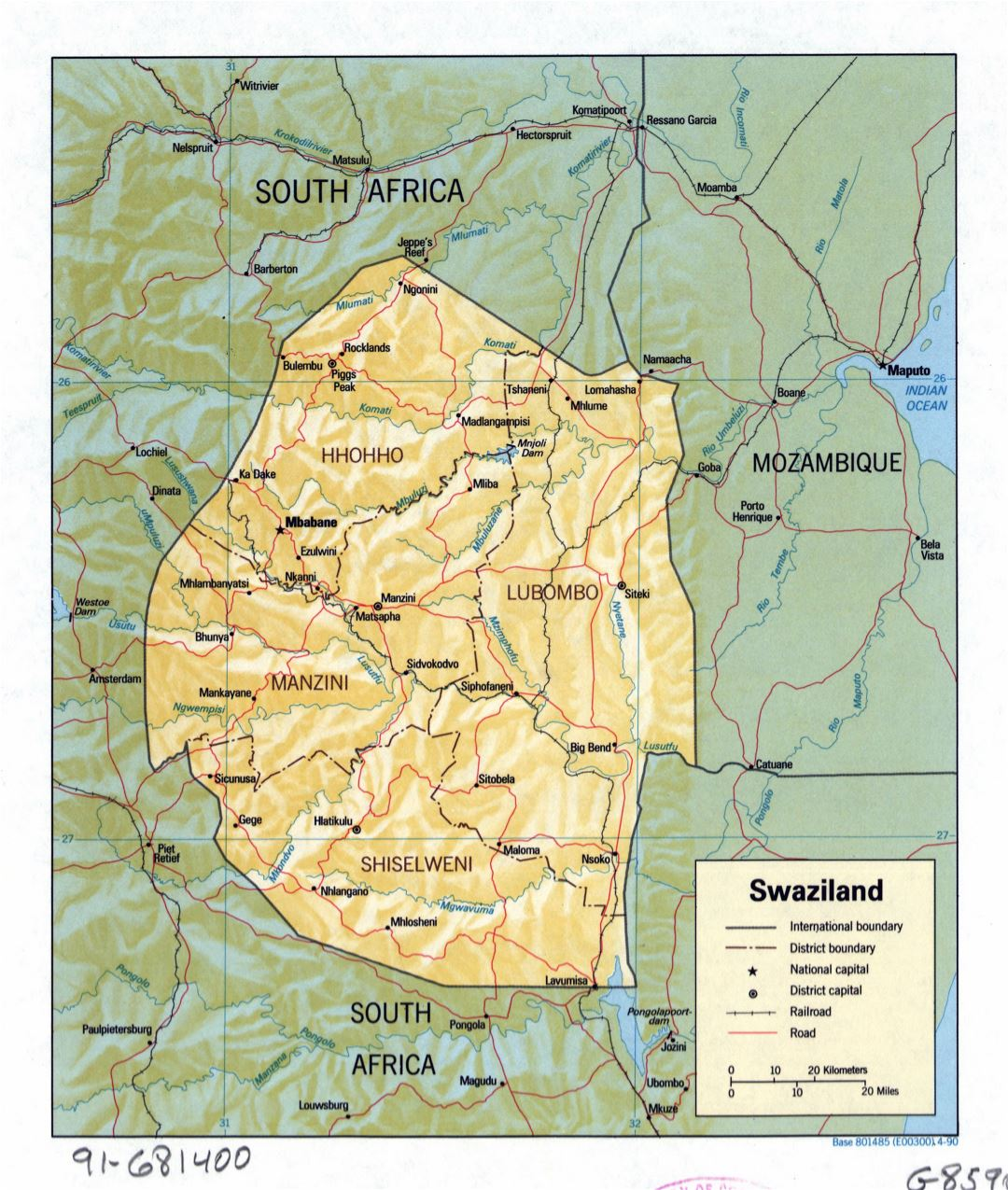 Large detailed political and administrative map of Swaziland with relief, roads, railroads and major cities - 1990