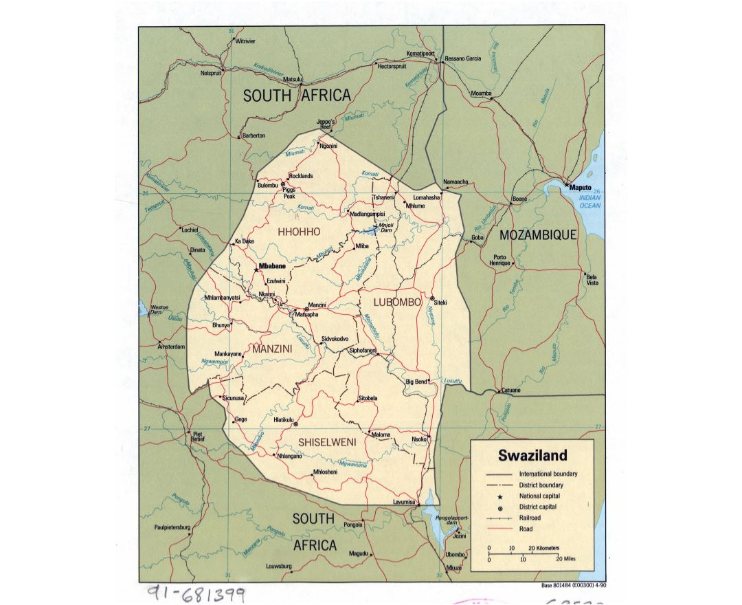 Maps of Swaziland Detailed map of Swaziland in English Tourist