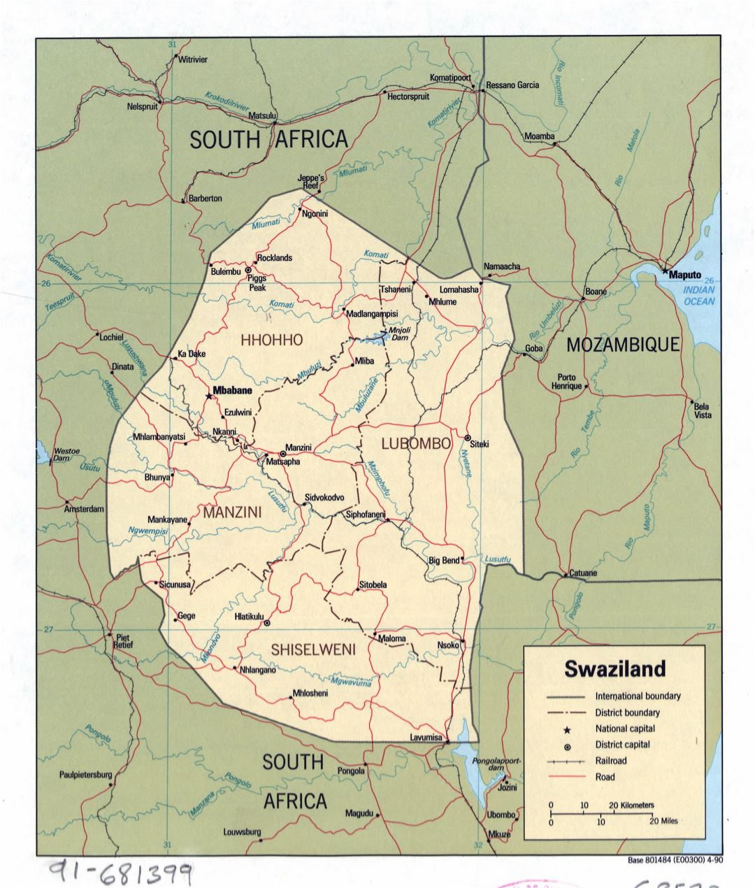 Large detailed political and administrative map of Swaziland with roads, railroads and major cities - 1990