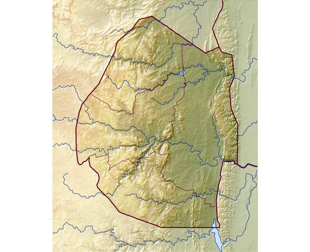 Large detailed relief map of Swaziland