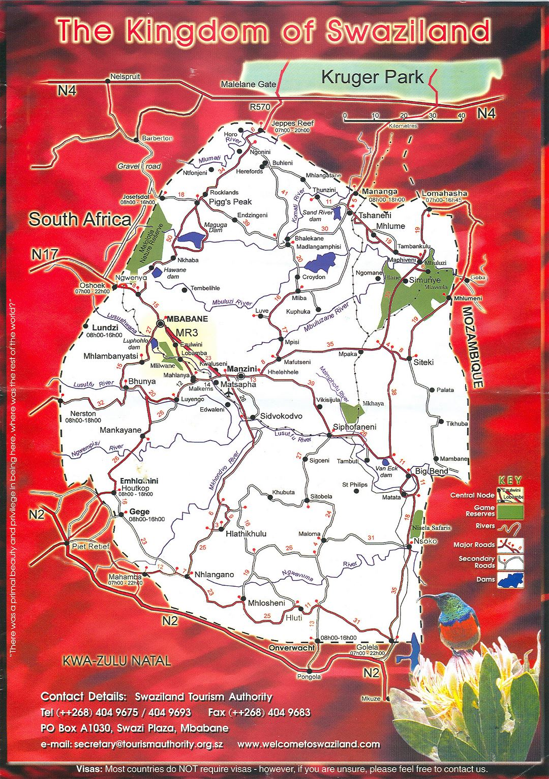 Large detailed tourist map of Swaziland