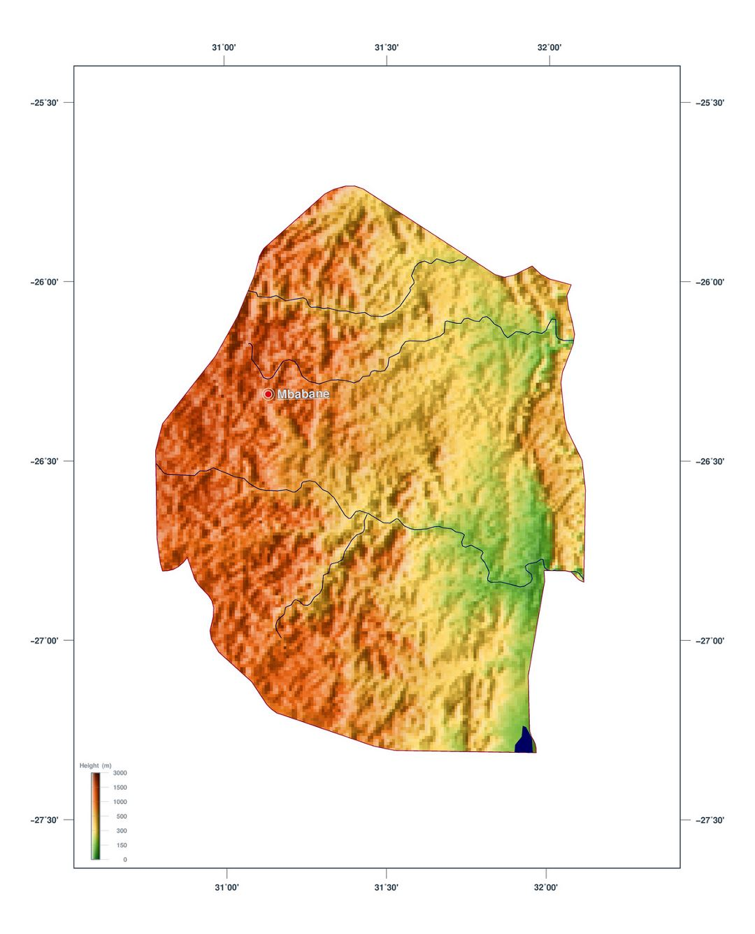Large elevation map of Swaziland