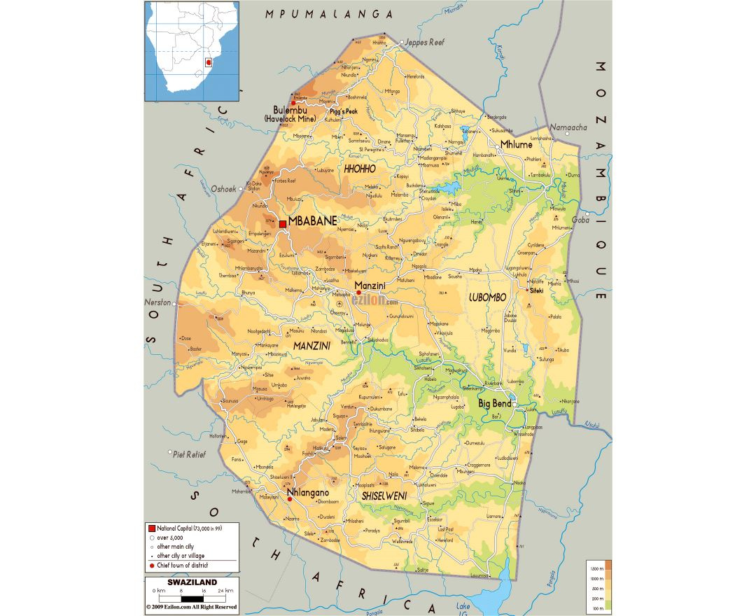 Large physical map of Swaziland with roads, cities and airports