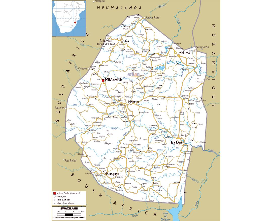 Large road map of Swaziland with cities and airports