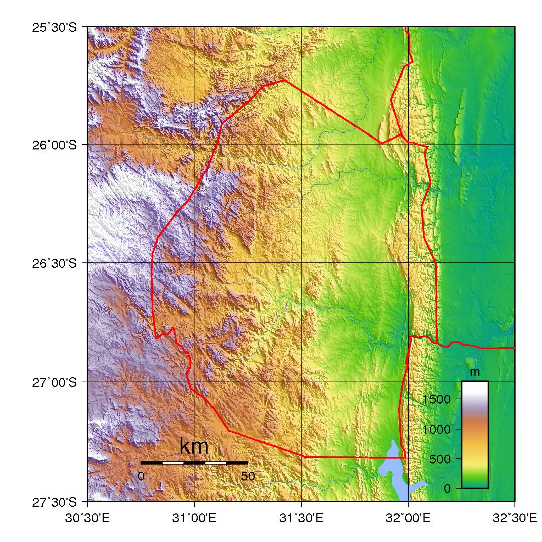 Large topographical map of Swaziland