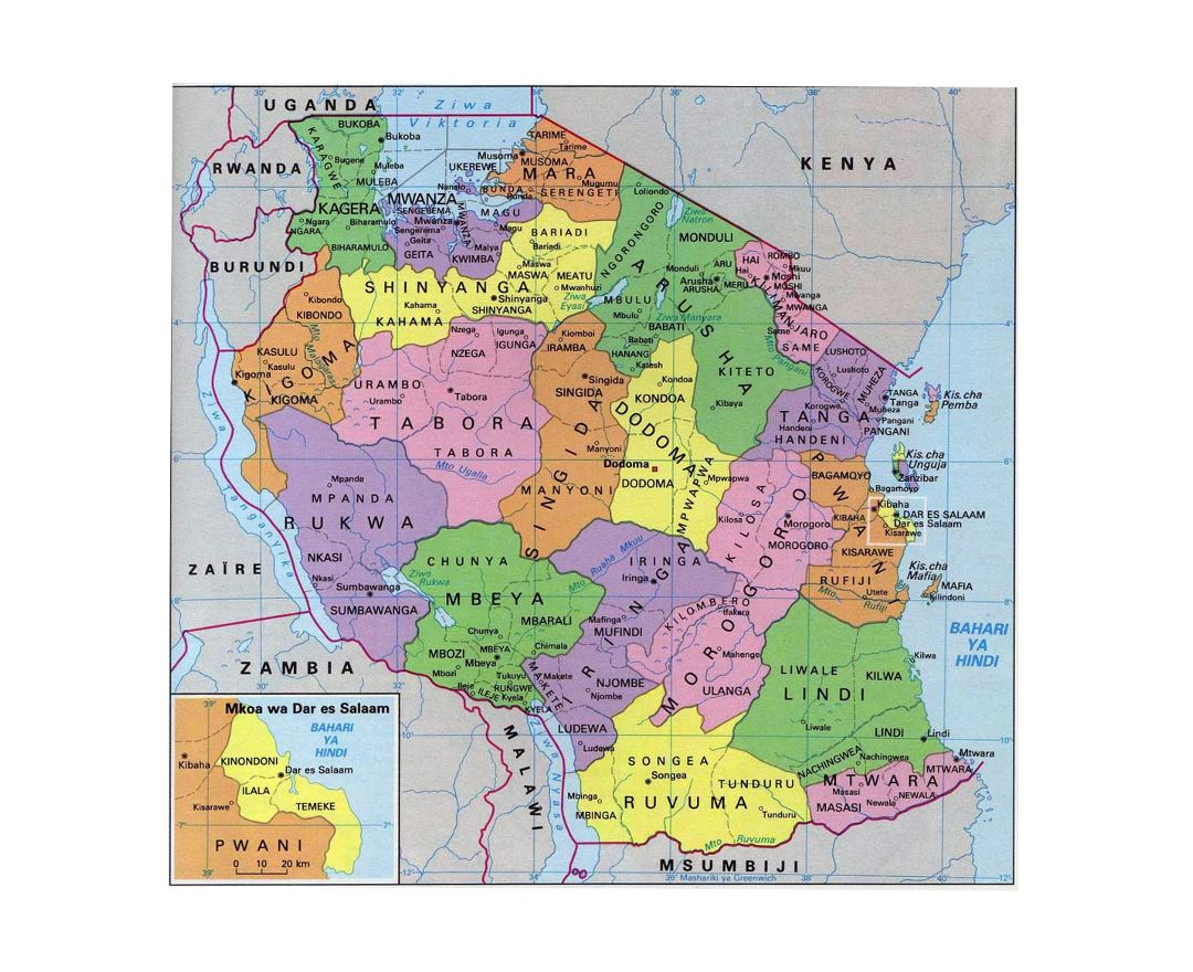 Maps Of Tanzania Collection Of Maps Of Tanzania Africa Mapsland Maps Of The World
