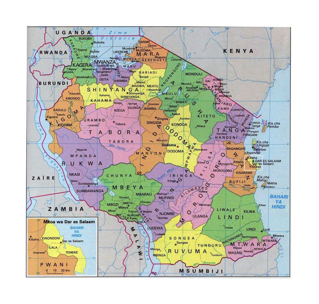 Detailed administrative map of Tanzania
