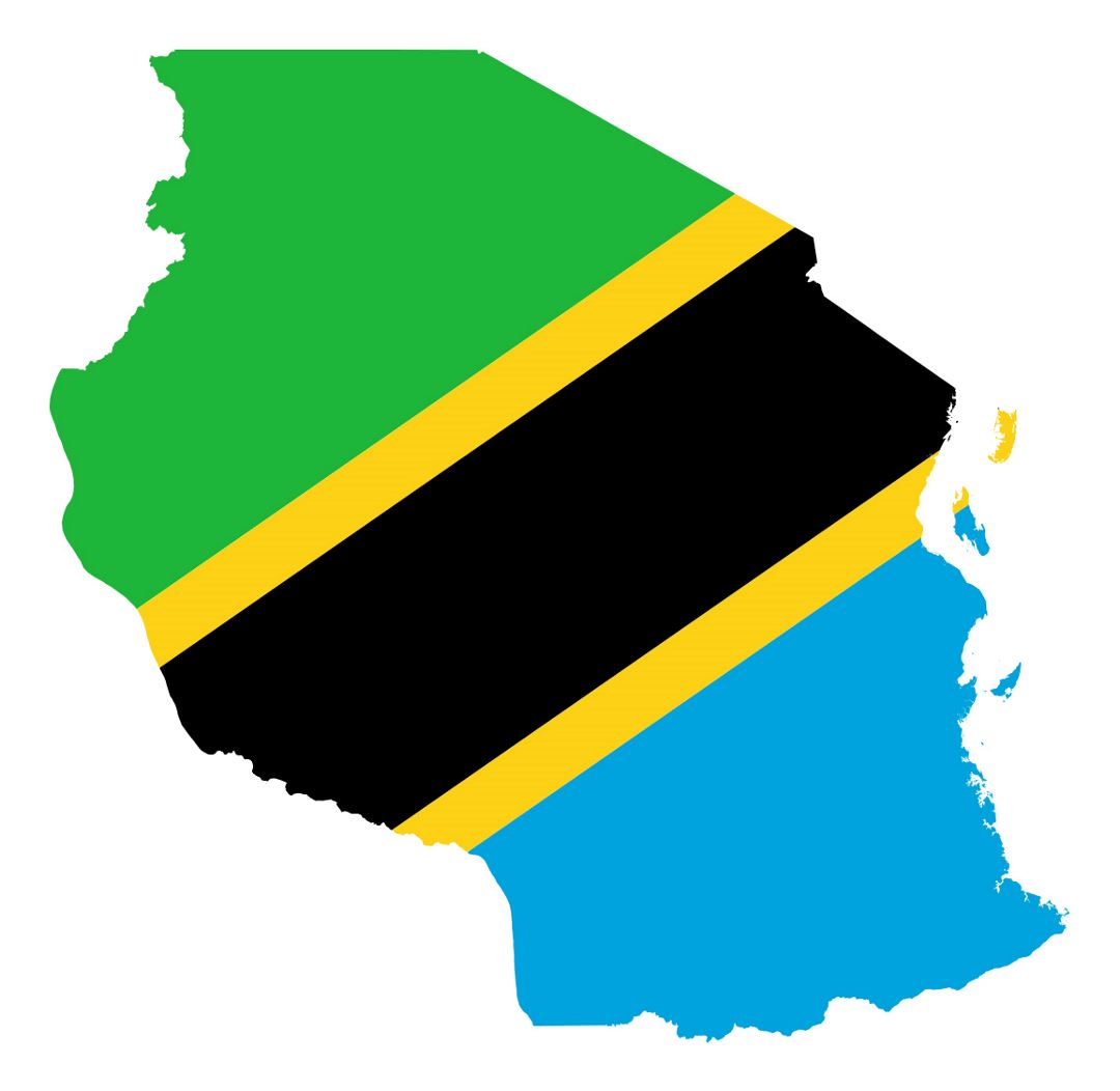 Detailed flag map of Tanzania