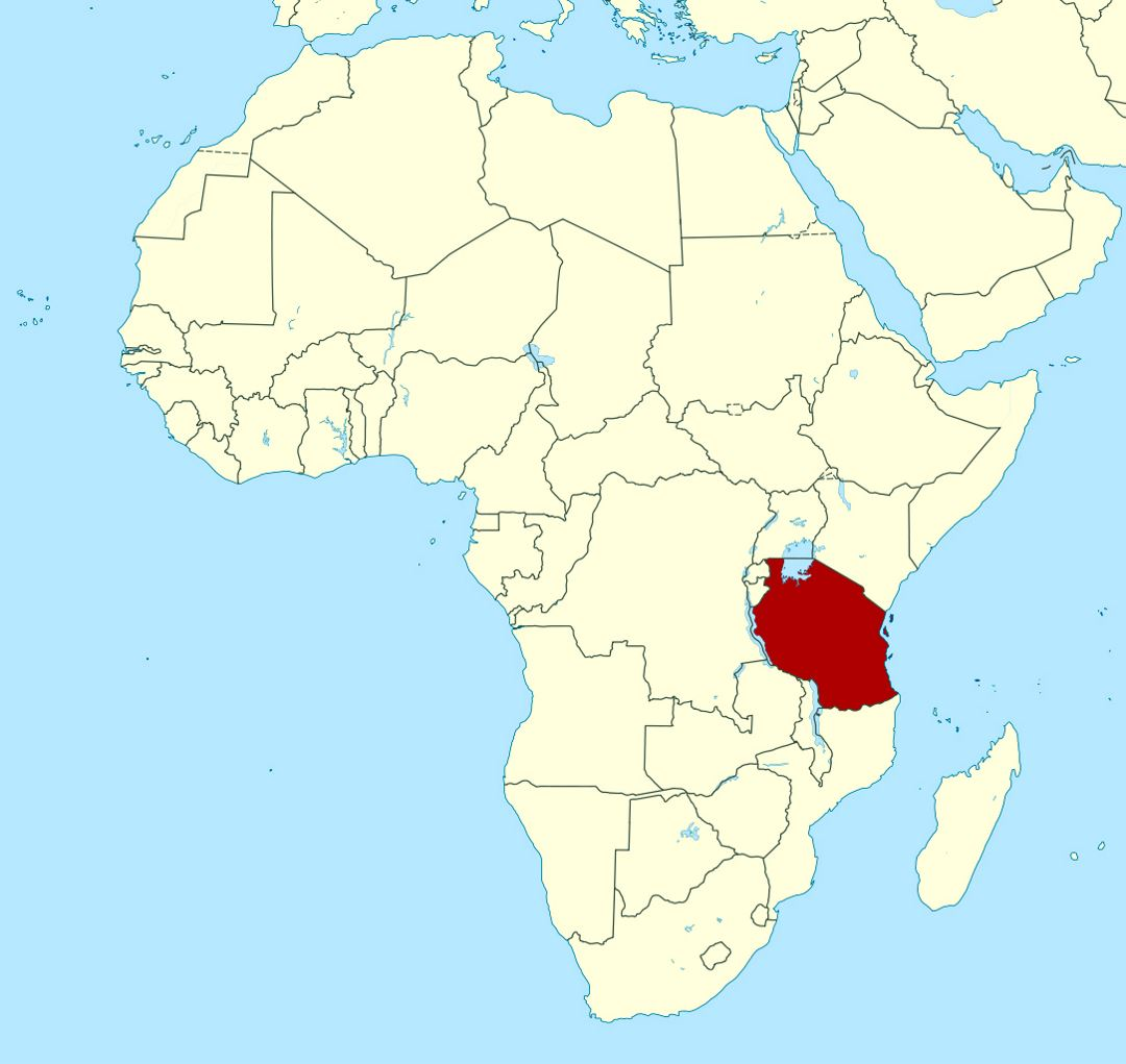 Detailed location map of Tanzania in Africa