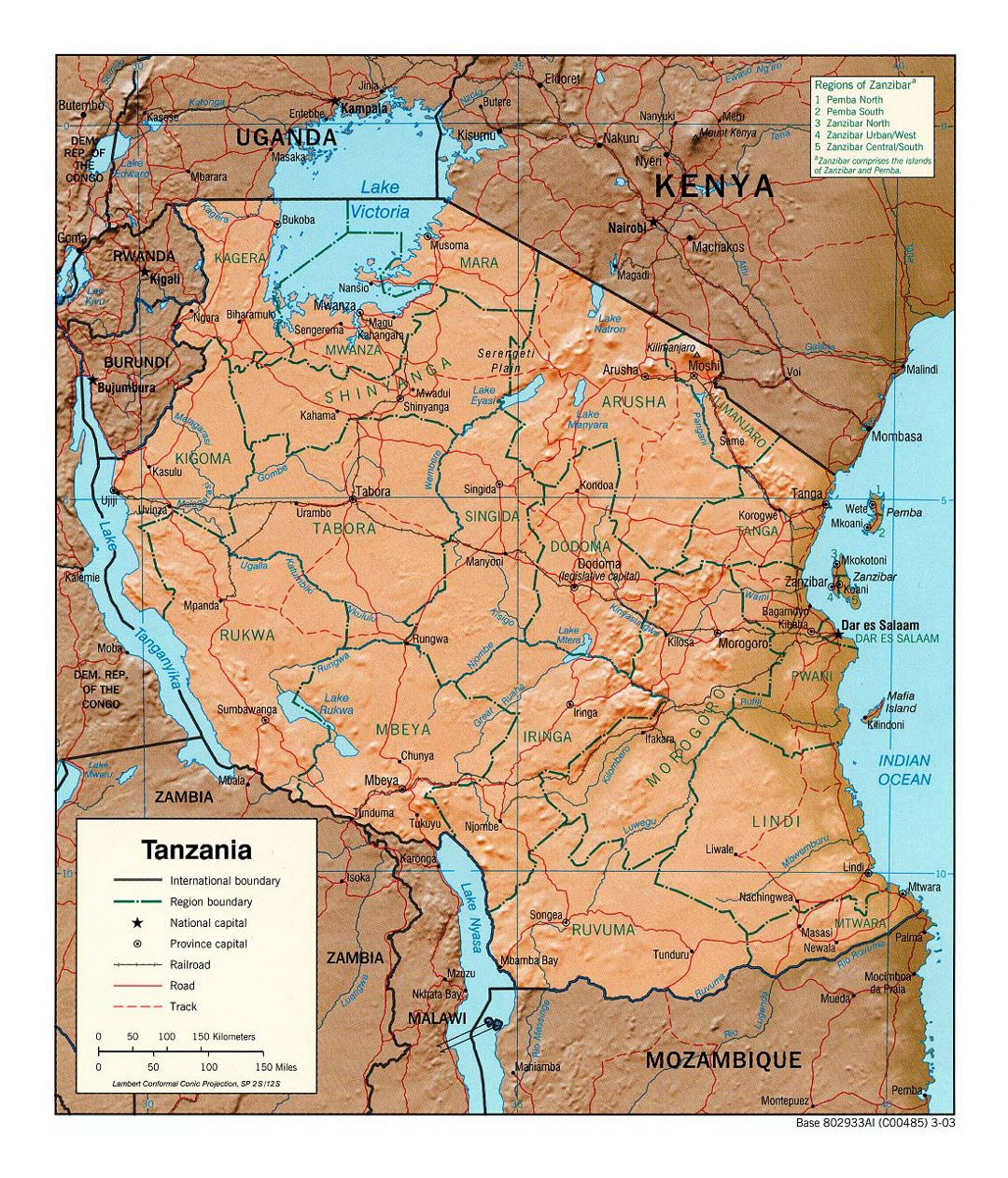 Detailed political and administrative map of Tanzania with relief, roads, railroads and major cities - 2003