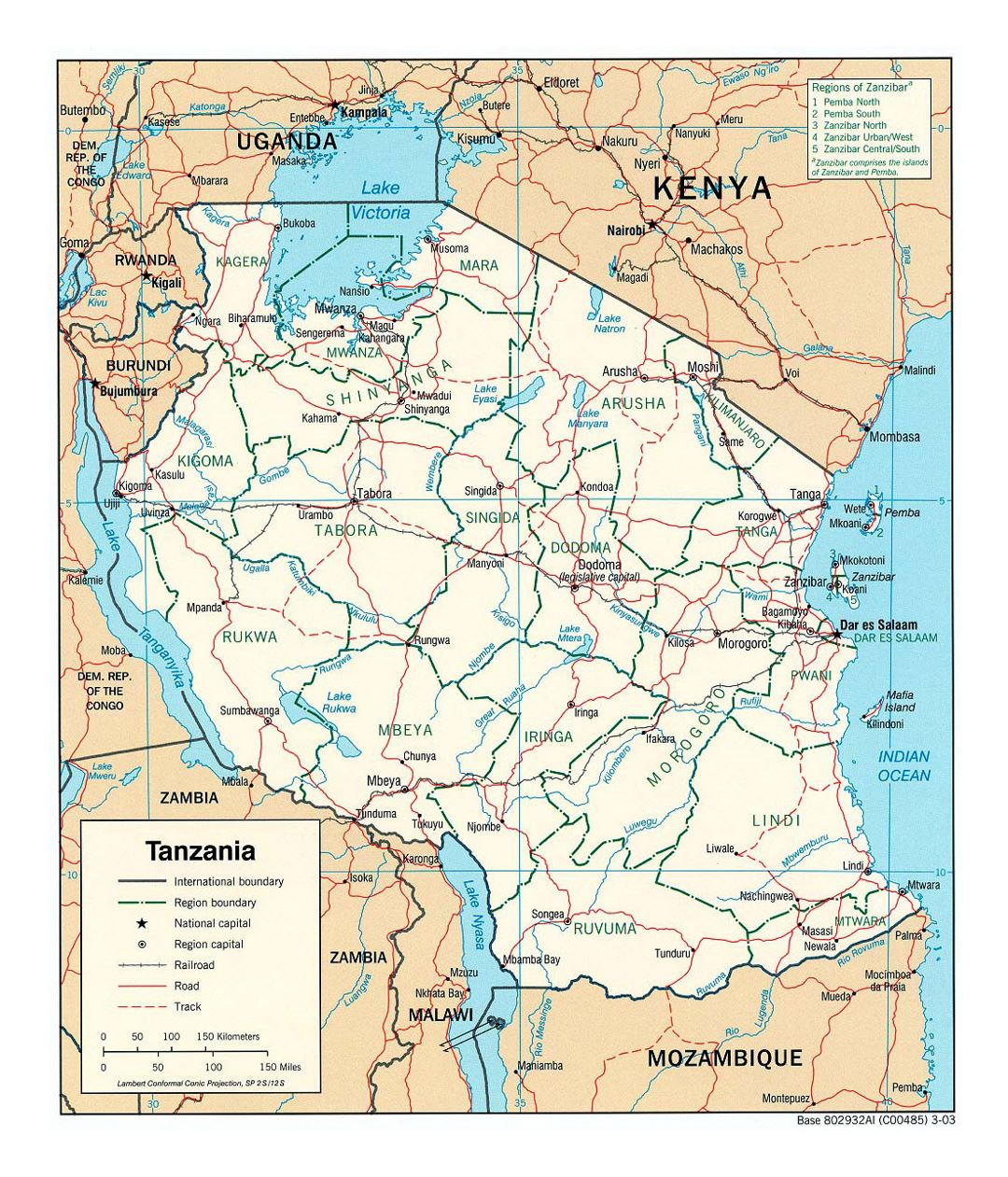 Detailed political and administrative map of Tanzania with roads, railroads and major cities - 2003
