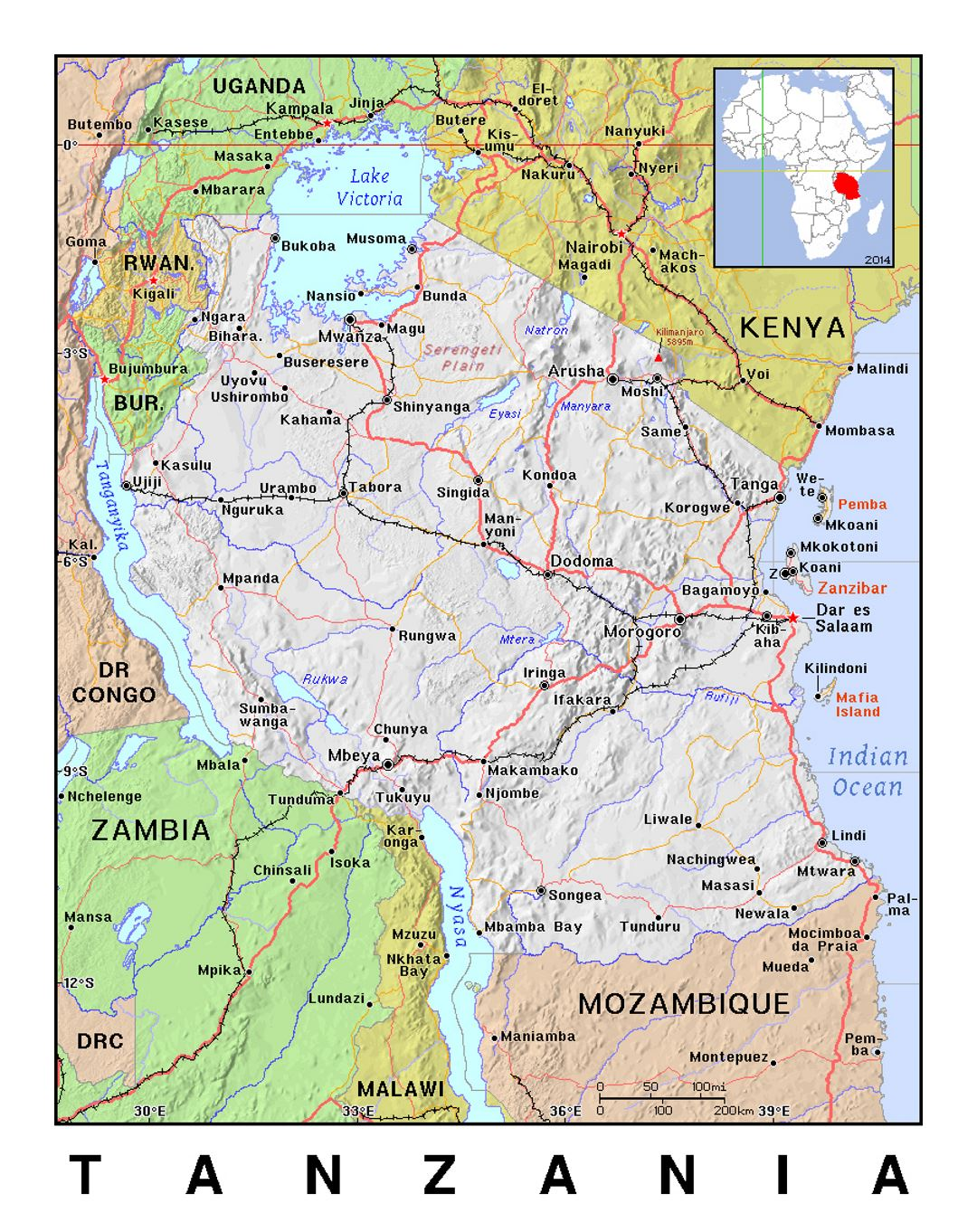 Picture of: Detailed Political Map Of Tanzania With Relief Tanzania Africa Mapsland Maps Of The World