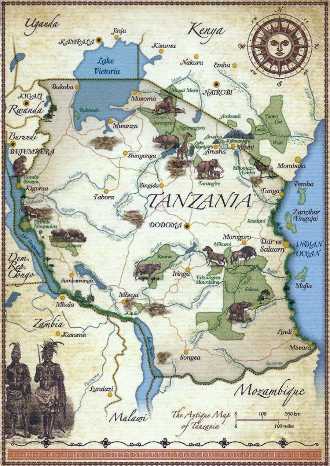 Detailed tourist illustrated map of Tanzania