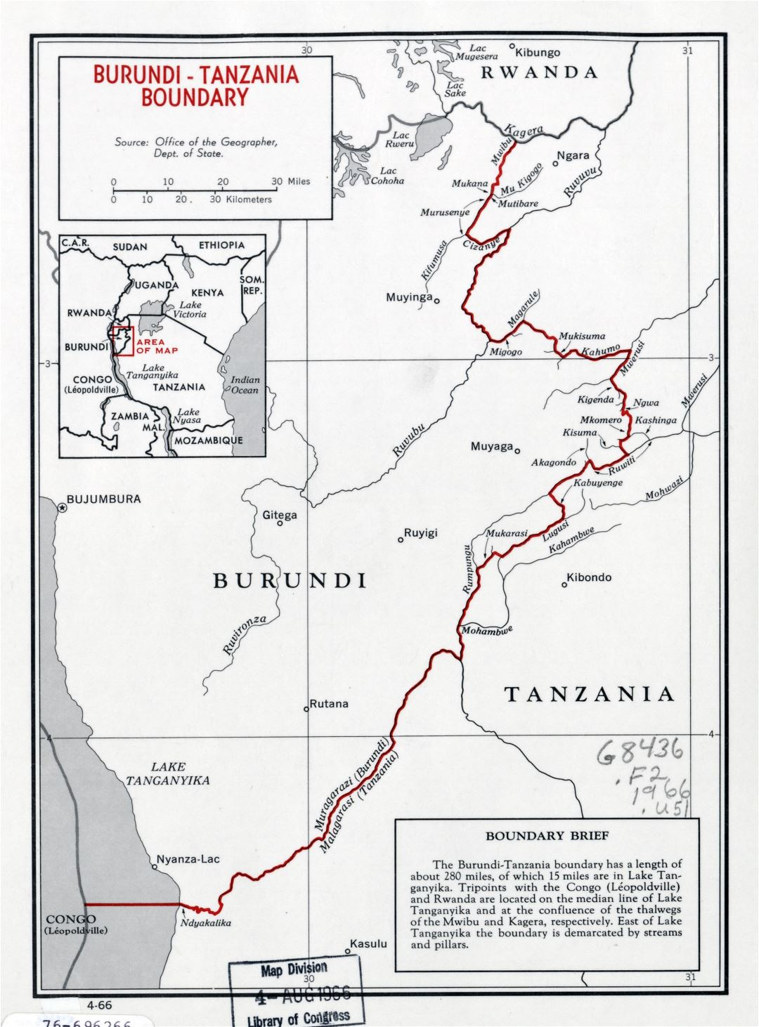 Large detailed Burund-Tanzania boundary map - 1966