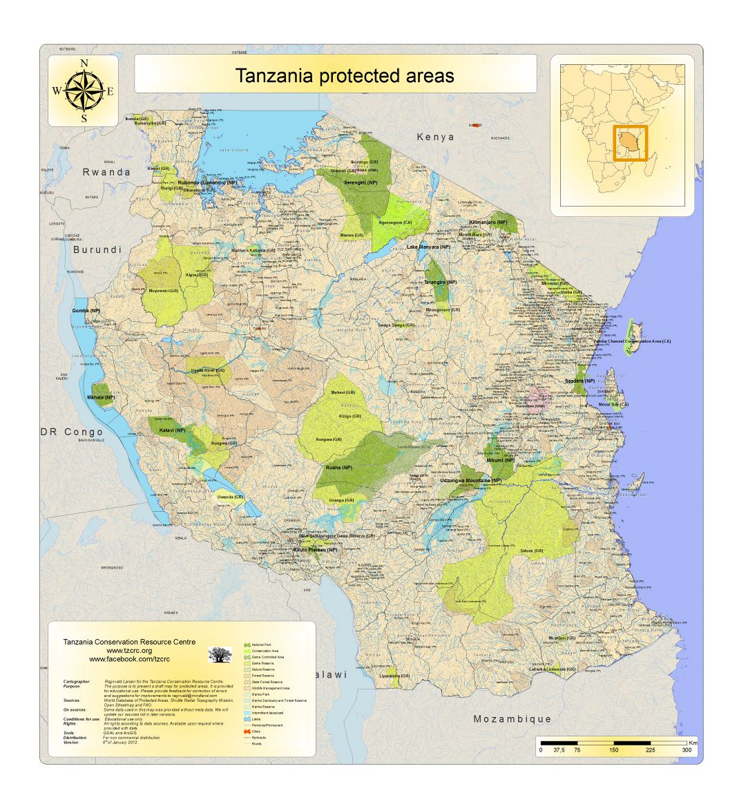 Large detailed map of Tanzania protected areas - 2010