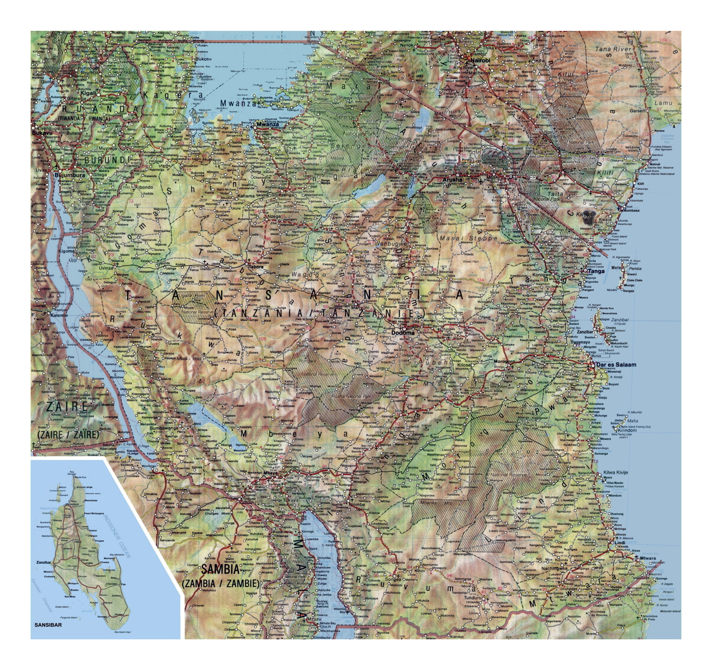 Large detailed map of Tanzania with relief roads cities national