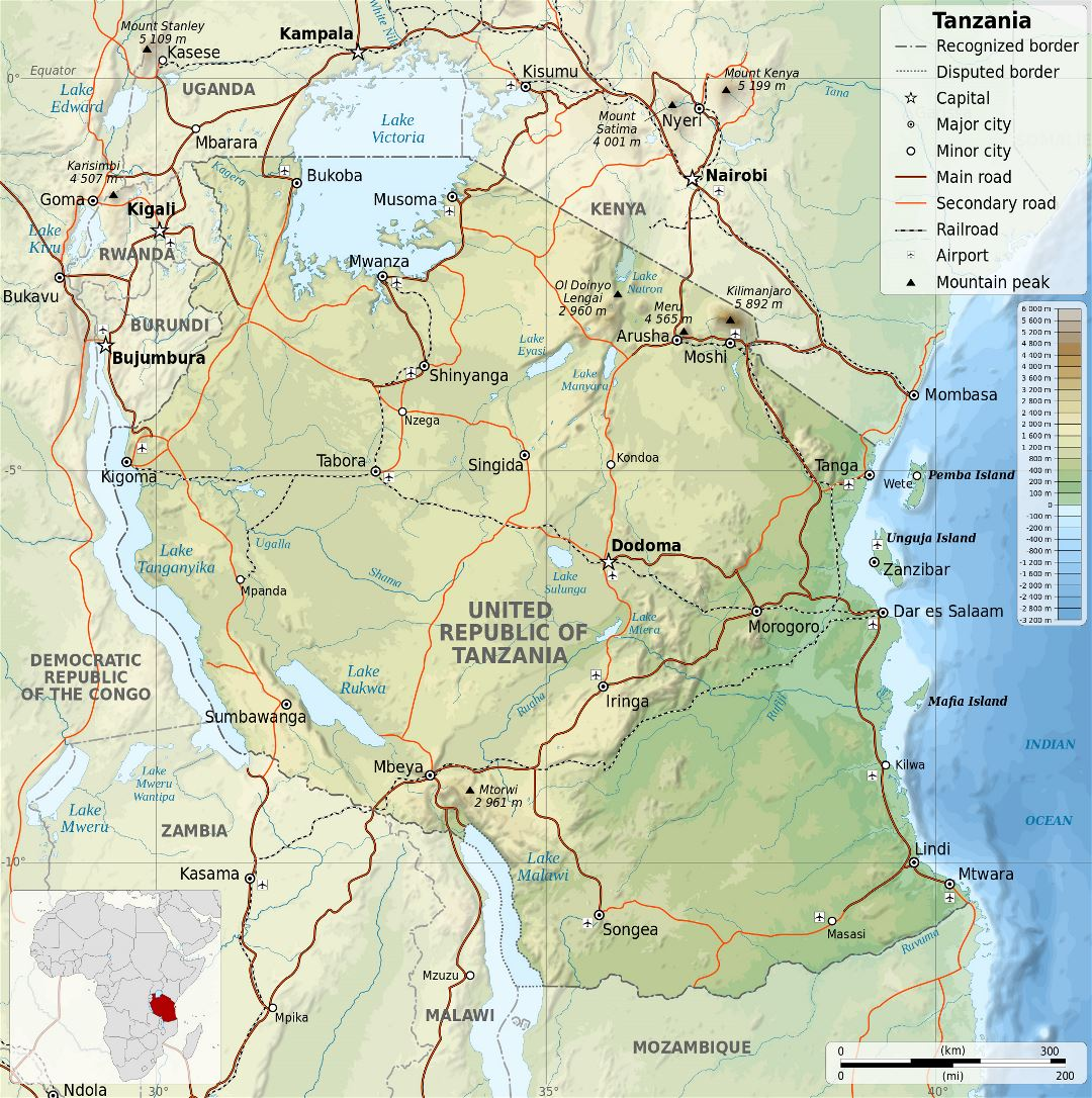 Large detailed physical map of Tanzania