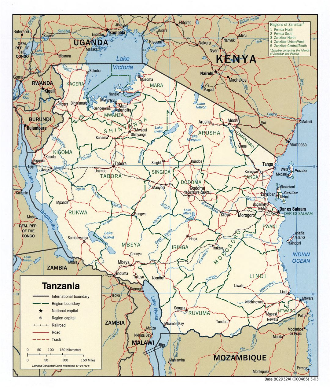 Large detailed political and administrative map of Tanzania with roads, railroads and major cities - 2003
