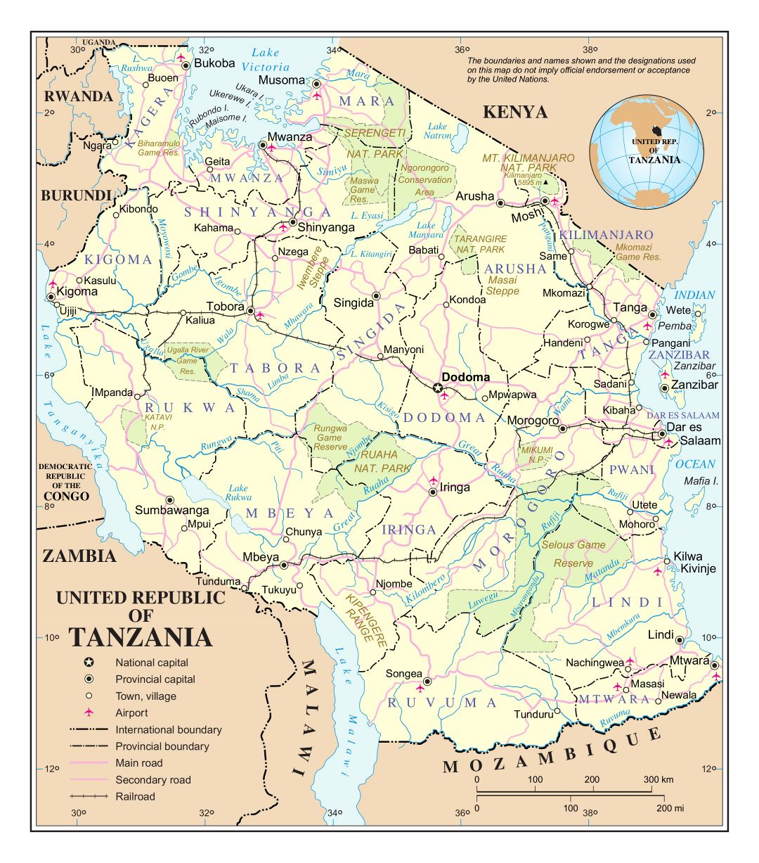 Large detailed political and administrative map of Tanzania with roads, railroads, cities, national parks and airports