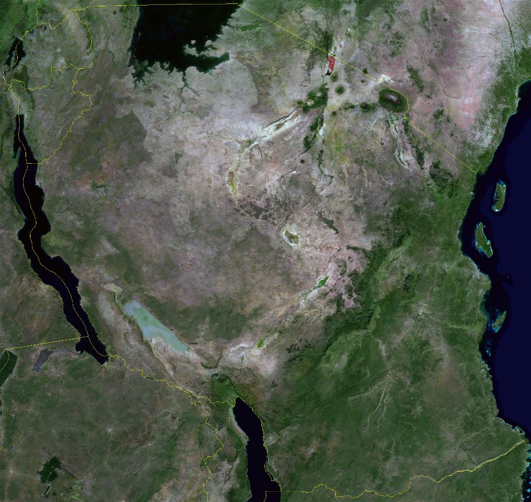 Large detailed satellite map of Tanzania