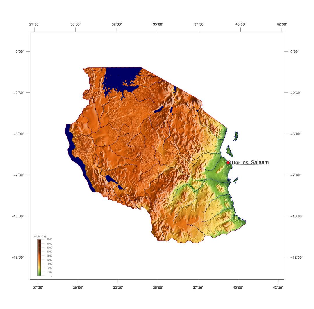 Large elevation map of Tanzania