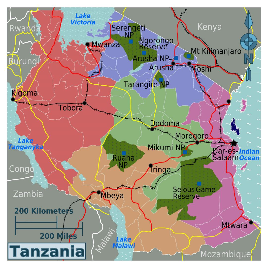Large regions map of Tanzania