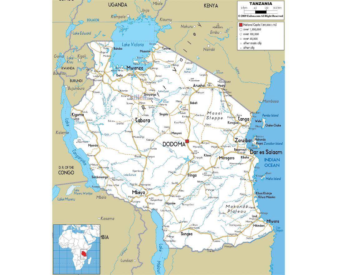 Maps of Tanzania Detailed map of Tanzania in English Tourist map