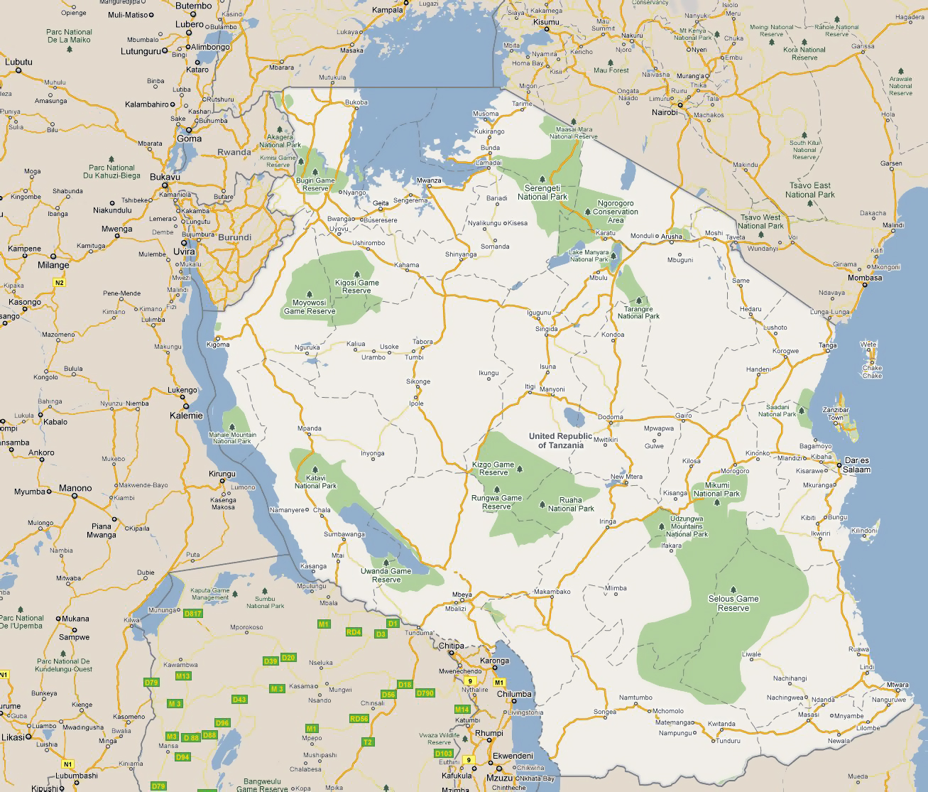 Large road map of Tanzania with cities and national parks Tanzania