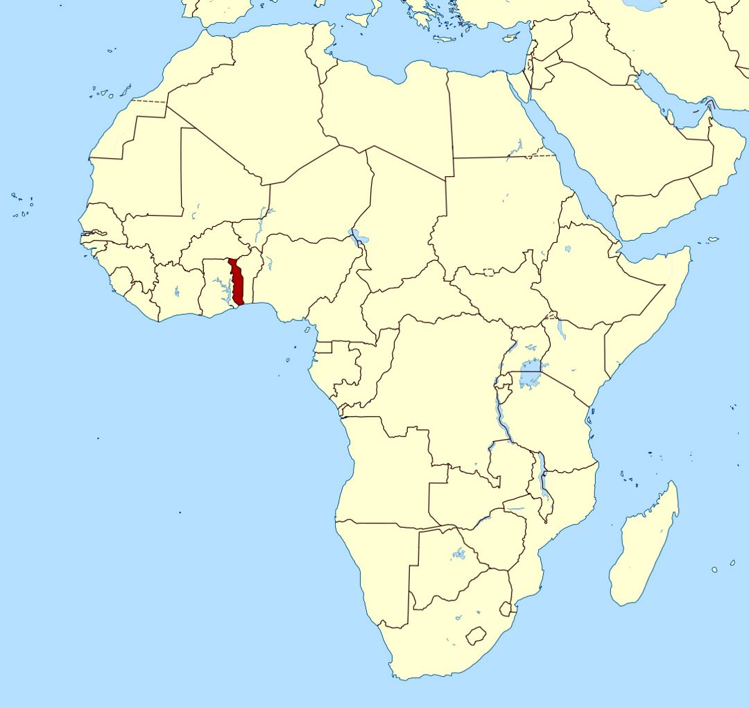 Detailed location map of Togo