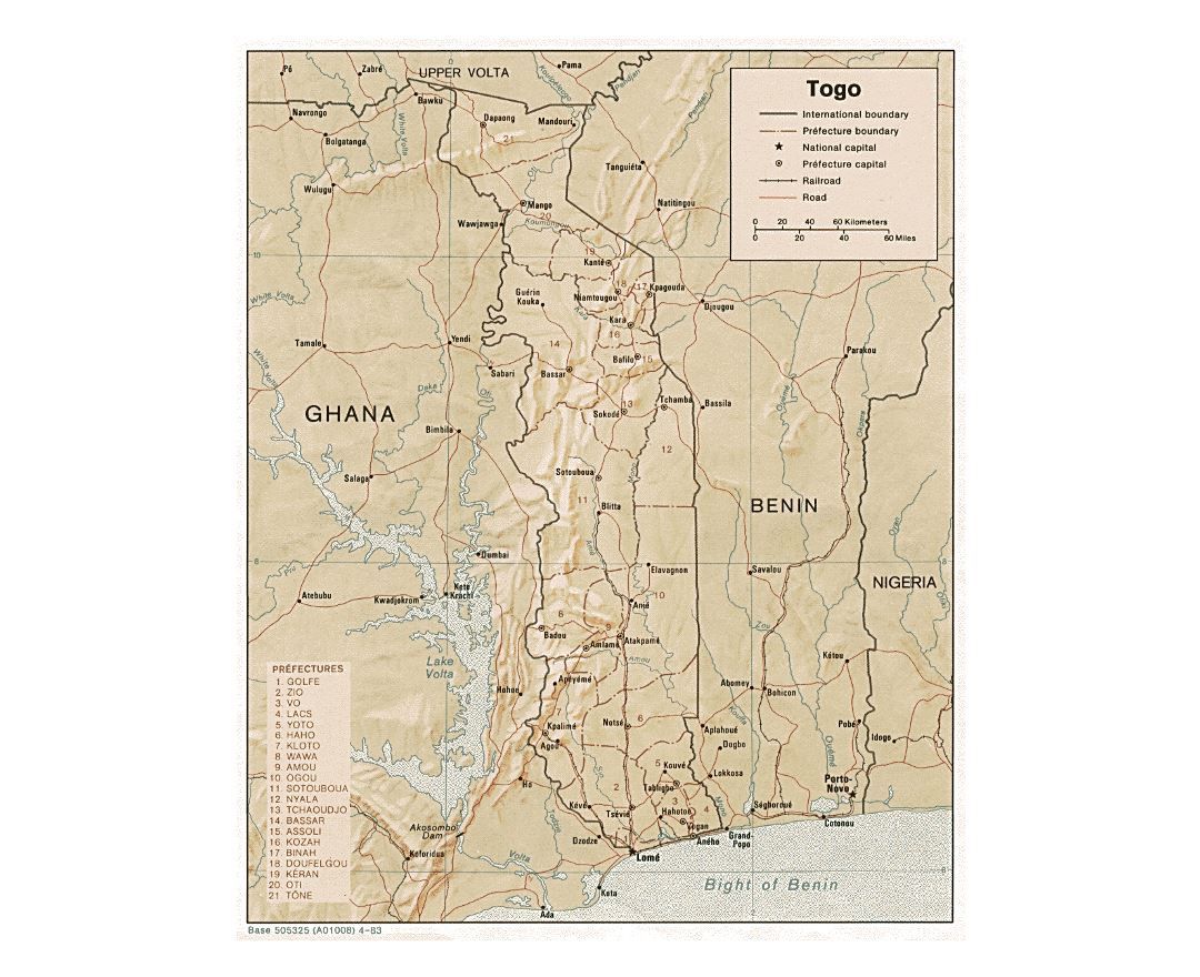 Detailed political and administrative map of Togo with relief, roads, railroads and major cities - 1983