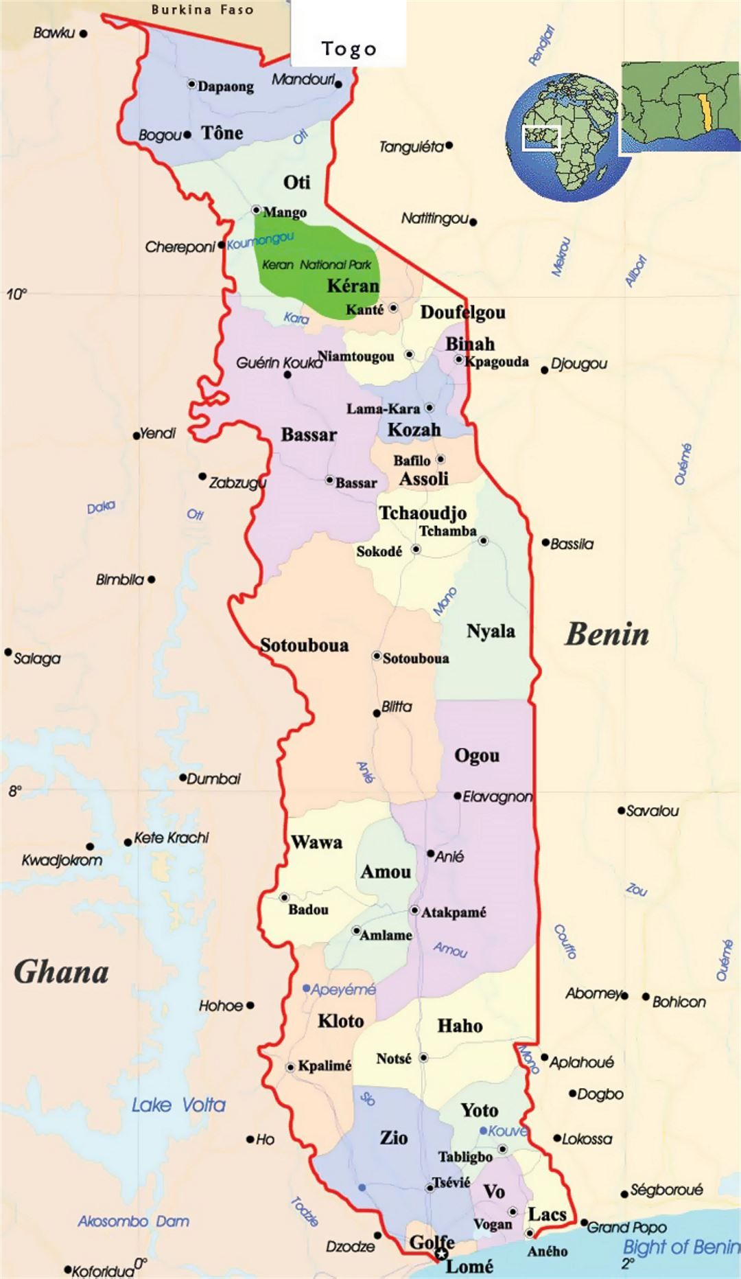 Detailed political and administrative map of togo with roads and detailed political and administrative map of togo with roads and cities gumiabroncs Image collections