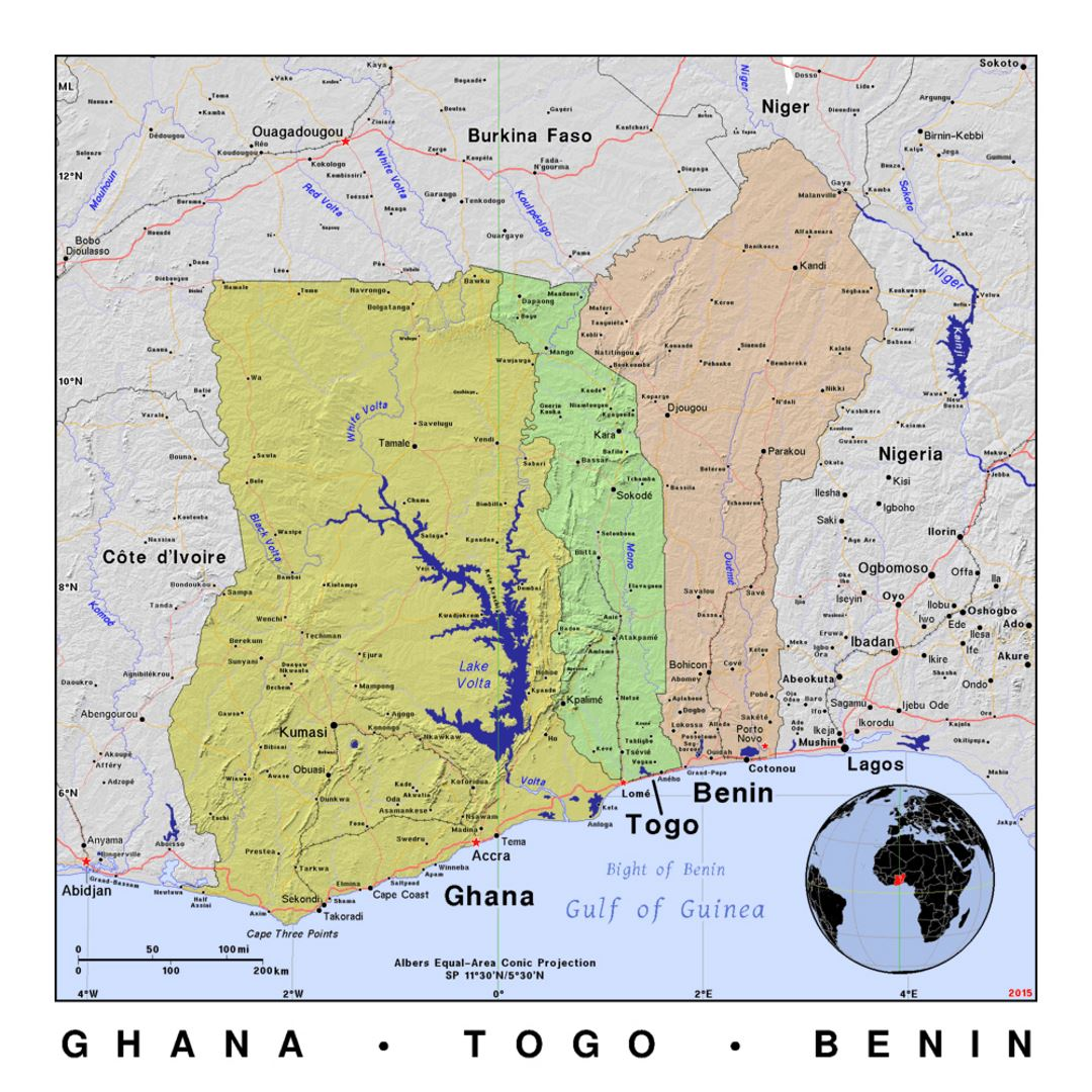 Detailed political map of Ghana, Togo and Benin with relief