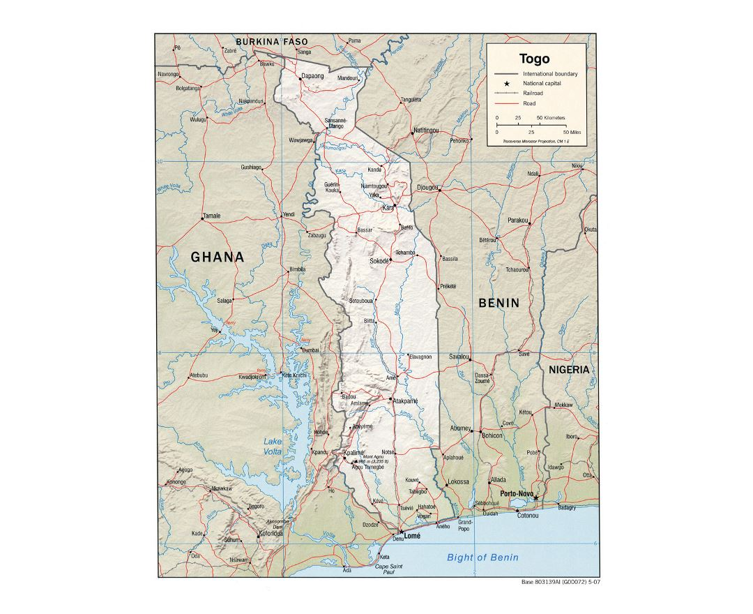 Detailed political map of Togo with relief, roads, railroads and major cities - 2007
