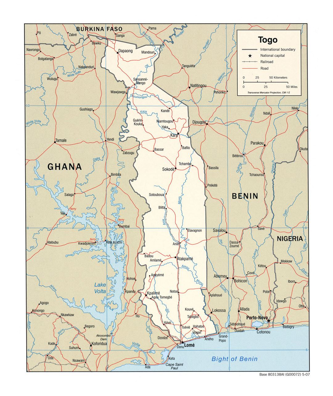 Detailed political map of Togo with roads, railroads and major cities - 2007