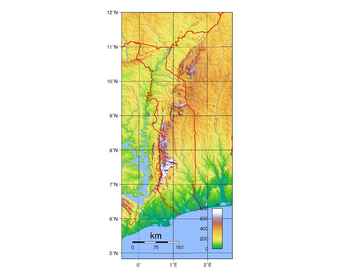 Detailed topographical map of Togo