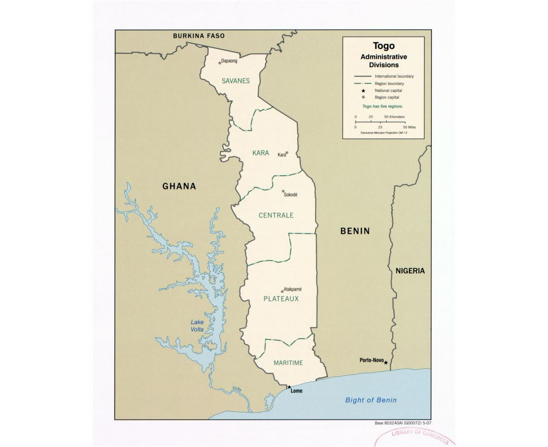 Large detailed administrative divisions map of Togo - 2007